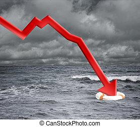 tomber, concept, crise, flèche, océan