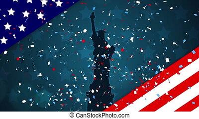 tomber, drapeau, liberté, confetti, nous, silhouette, statue, contre, coloré