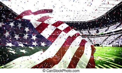 tomber, drapeau, stade, confetti, nous, sur, contre, coloré