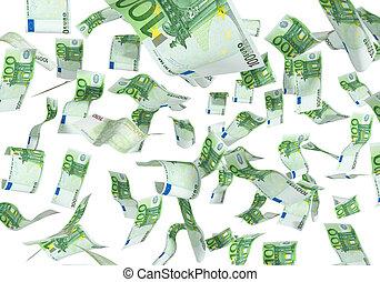 tomber, fond blanc, euros