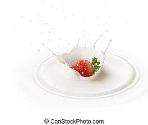 tomber, fraise, dans, lait