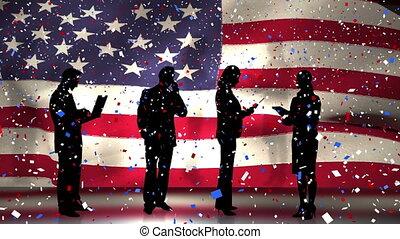 tomber, gens, drapeau, confetti, business, nous, coloré, sur, contre, silhouettes