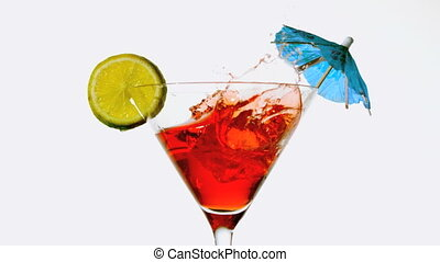tomber, glaçon, cocktail