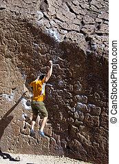 tomber, grimpeur, rocher