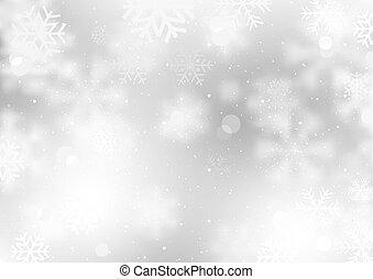 tomber, hiver, fond, flocons neige