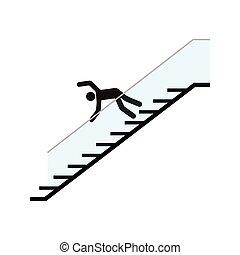 tomber, homme, bas, escalier