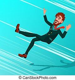 tomber, miskate, business, bottom., caractère, illustration, bas, faillite, économique, vector., automne, crisis., burden., homme affaires, dette, dessin animé