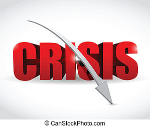 tomber, mot, flèche, illustration, crise