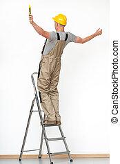 tomber, ouvrier, échelle