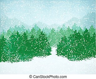 tomber, paysage hiver, neige