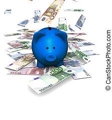 tomber, piggybank, euro