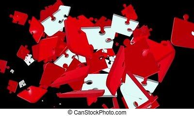 tomber, puzzle, rouges, morceaux