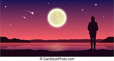 tomber, regarde, girl, étoiles, lune, lac, entiers
