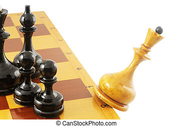 tomber, reine, échecs