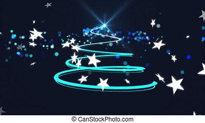 tomber, texte, étoiles, joyeux, contre, arbre noël