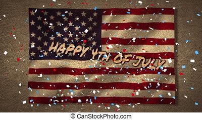 tomber, texte, drapeau, jour, confetti, nous, indépendance, sur, contre, coloré
