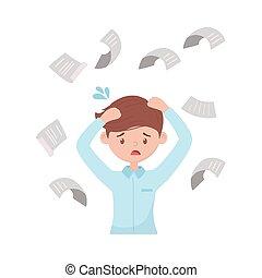 tomber, travail, exaspéré, papiers, documents, tension, ouvrier
