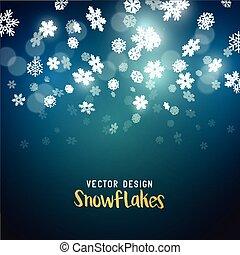 tomber, vecteur, flocons neige, effet