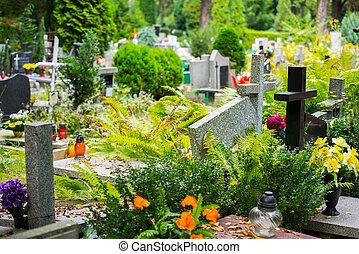 tombes, sur, catholique, cimetière