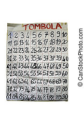Tombola or bingo numbers - Tombola or bingo placard with ...