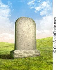Blank tombstone in a green grass meadow. Digital illustration.