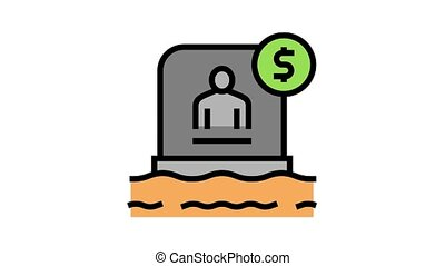 tombstone buy animated color icon. tombstone buy sign. isolated on white background