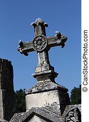 tombstone cross - old massive cross of a tombstone on a...