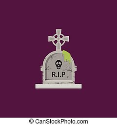 Tombstone for halloween in a flat style