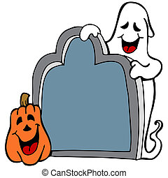 Tombstone Ghost Pumpkin - An image of a halloween ghost with...