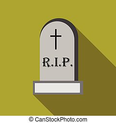 Tombstone icon, flat style