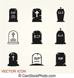 Tombstone icon vector, grave symbol isolated on background.