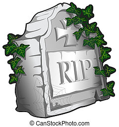 Illustrated tombstone with ivy