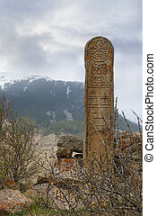 Tombstone in the mountains of North Ossetia, Russia
