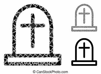 Tombstone Mosaic Icon of Uneven Pieces