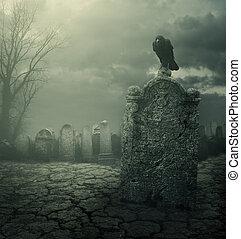 Tombstone - Graveyard at night. Halloween concept. Grain...
