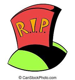 Tombstone RIP icon cartoon