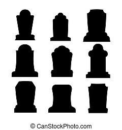 Tombstone silhouette set for halloween. Gravestone cemetery...