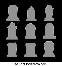 Tombstone silhouette set for halloween. Gravestone cemetery...