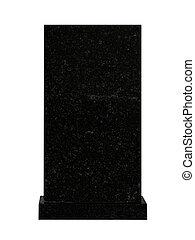 tombstone - empty black granite tombstone isolated on white