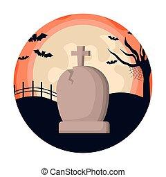 tombstone with bats flying in scene halloween