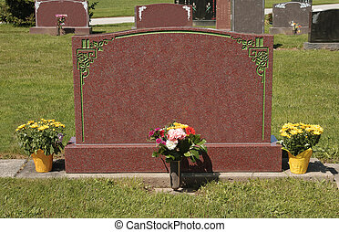 Tombstone with Flowers - Sunlit Cemetery