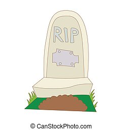 Tombstone with RIP icon, cartoon style