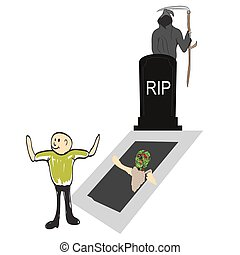 Tombstone with Zombie Hand