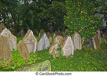 Tombstones at the old Jewish cemetery in Prague (Czech Republic)