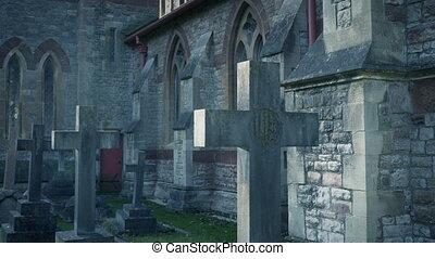 Gravestones in the cemetery in the daytime