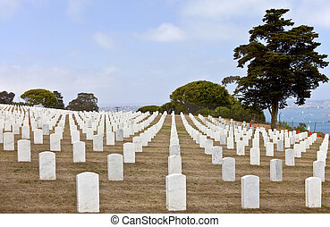 Tombstones in a cemetery Point Loma california. - Row of...
