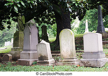 a row of blank tombstones in historic cave hill cemetery