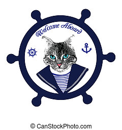 Tomcat sailor on steering wheel and the text welcome aboard,...