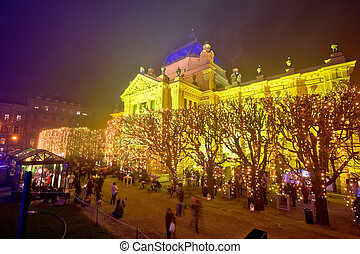 Tomislav square in Zagreb advent view