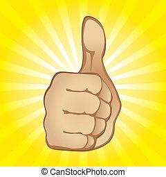 tommelfinger, gestus, oppe
